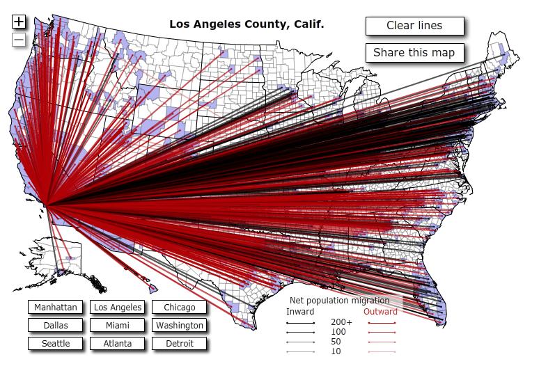 Карта миграции Лос-Анджелес